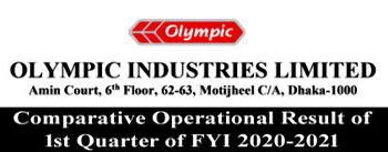Comparative operational results of 1st Quarter of FYI 2020-2021 of Olympic Industries Ltd.