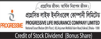 Credit of stock dividend of Progressive life ins. co. ltd