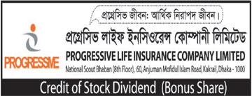 Credit of stock dividend of Progressive life ins. co. ltd